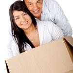 Loving couple moving house — Stock Photo