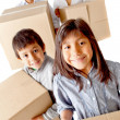 Stock Photo: Family moving home