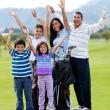 Happy golf family — Stock Photo