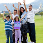 familia feliz golf — Foto de Stock