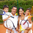 Royalty-Free Stock Photo: Family playing tennis
