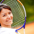 Beautiful woman at tennis - 图库照片