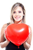 Woman ceberating Valentines Day — Stock Photo