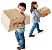Kids with cardboard boxes — Stock Photo