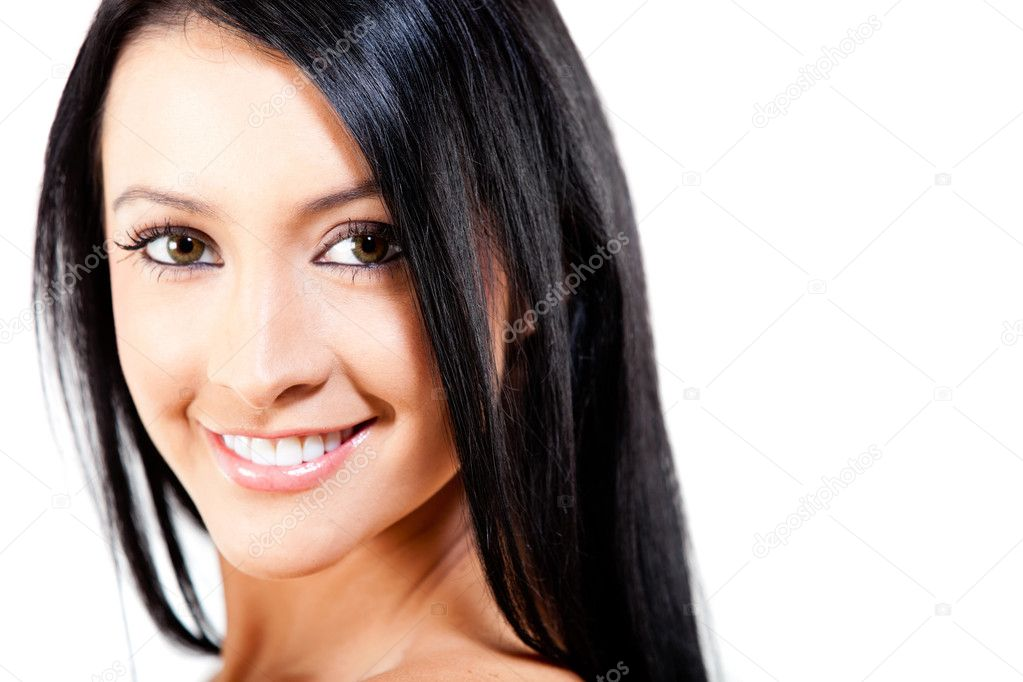 Woman with healthy dark hair looking beautiful - isolated — Stock Photo #8831934