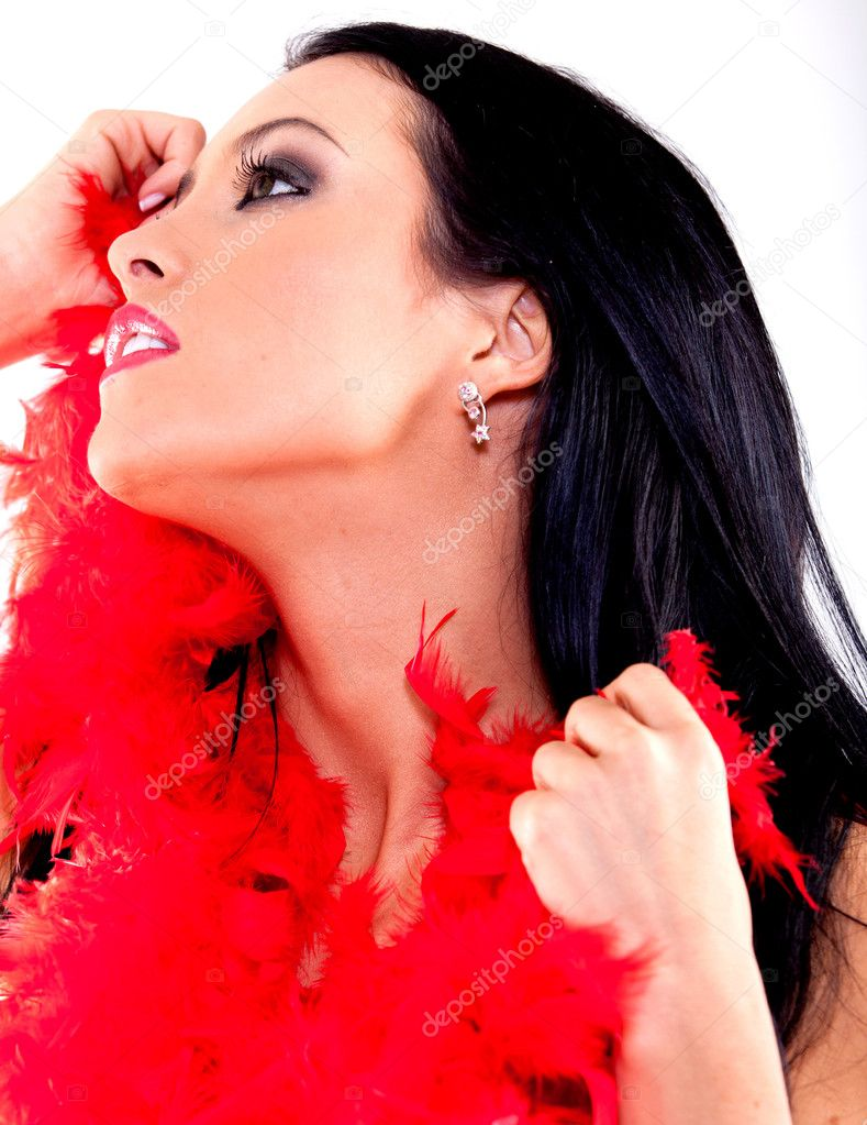 Sexy woman with a red feather boa - isolated over a white background — Stock Photo #8831947