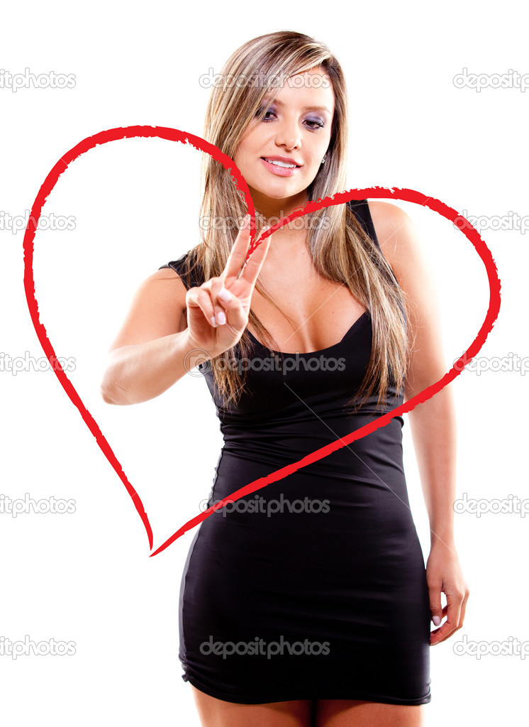 Woman drawing a heart for Valentines Day - isolated over a white background — Stock Photo #8831971