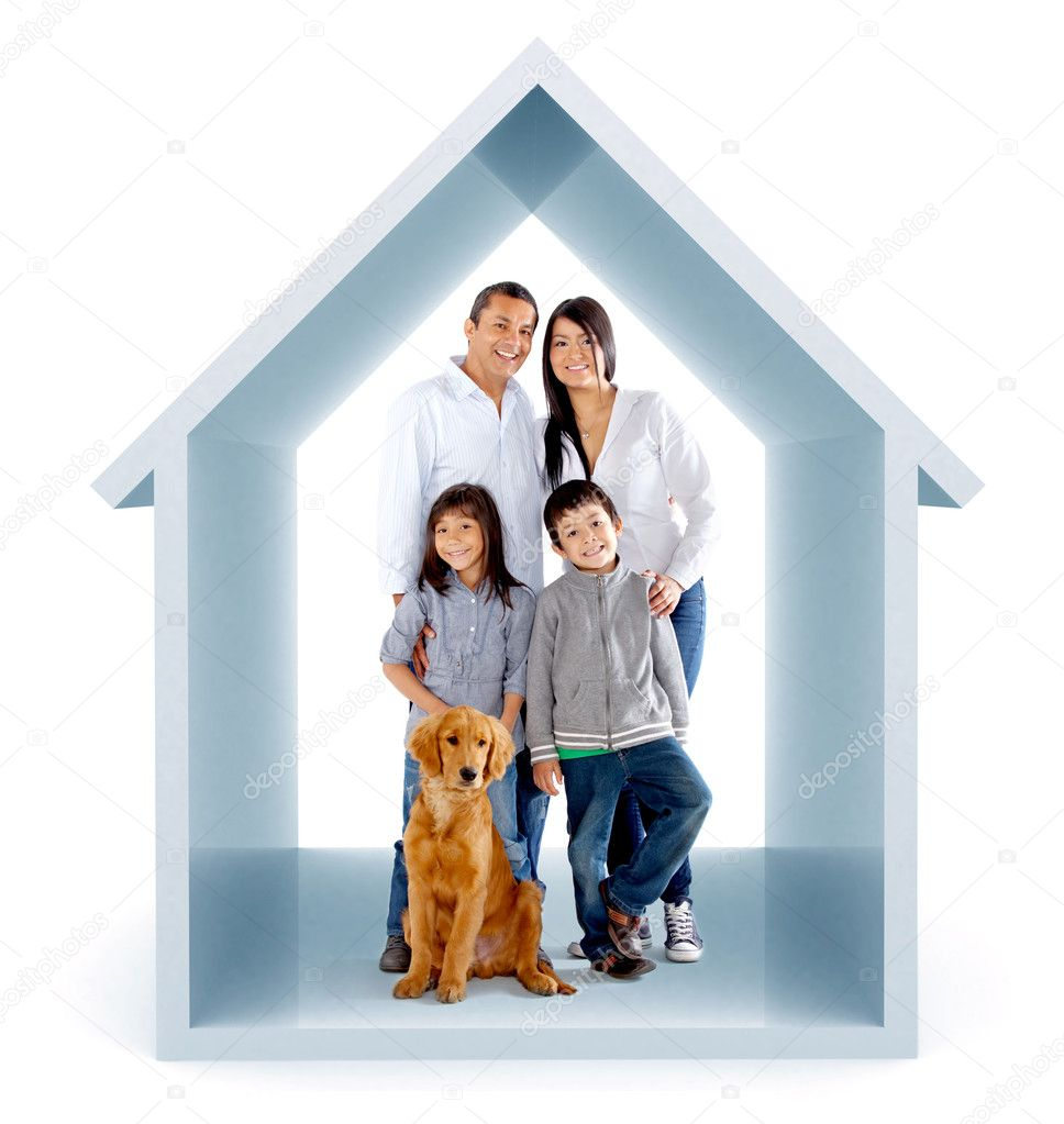 Family in a 3D house illustration - isolated over a white background — Stok fotoğraf #8832013