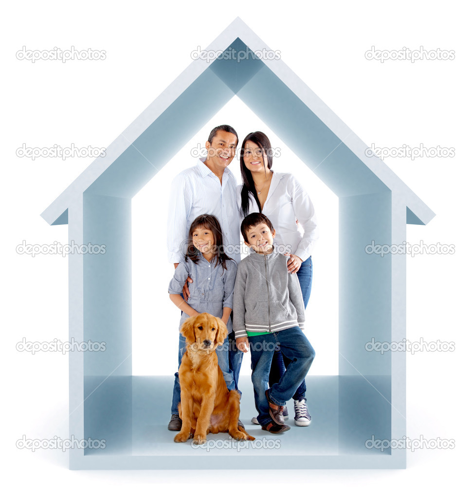 Family in a 3D house illustration - isolated over a white background  Stockfoto #8832013