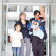 Stock Photo: Family entering hospital