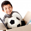 Stock Photo: Boy moving house