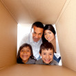 图库照片: Family in a box