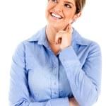 Thoughtful woman smiling — Stock Photo