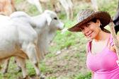 Cowgirl porträtt — Stockfoto
