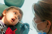 Little boy at the dentist — Stok fotoğraf