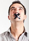 Man het zwijgen opgelegd — Stockfoto