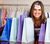 Mulher à venda — Fotografia Stock