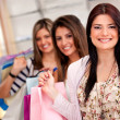 Stock Photo: Group of shopping girls