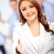 Welcoming business woman — Stok Fotoğraf #8850125