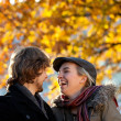 Autumn couple outdoors — Stock Photo