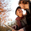 Loving couple with a tablet — Stock Photo