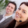 Stock Photo: Woman in a call center