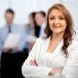 Woman leading a business team — Stock Photo