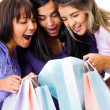 Stock Photo: Women looking at purchases