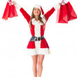 Female Santa with shopping bags — Stock Photo #8850675