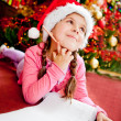Girl writing a letter to Santa — Stock Photo