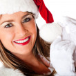 Female Santa smiling — Stock Photo