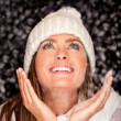 Winter woman with snow - Stock Photo