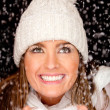 Winter woman with snow — Stockfoto