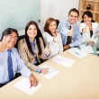 Business team with thumbs up — Stock Photo #8850871