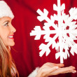 Mrs. Claus with a snowflake — Stock Photo