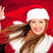 Funny female Santa - Stockfoto