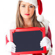 Mrs Claus with blackboard — Stock Photo #8850977