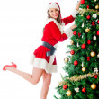 Decorating a Christmas tree - Stock Photo