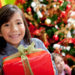 Girl with a Christmas present - Stockfoto
