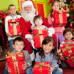Santa with children — Stock Photo
