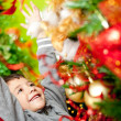 Excited boy enjoying Christmas - Stock Photo