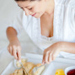 Woman having breakfast - Stock Photo