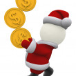 3d santa balancing coins — Stock Photo