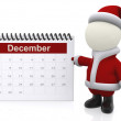 3D Santa with a calendar - Foto Stock