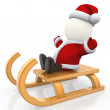 3D Santa on sleight — Stock Photo