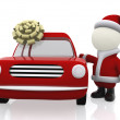 3D Santa with a car — Foto Stock