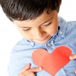Boy with a heart - Stok fotoğraf