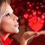 Woman celebrating Valentines day — Stock Photo