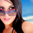 Stock Photo: Summery womwith sunglasses