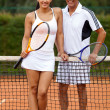 Royalty-Free Stock Photo: Couple playing tennis